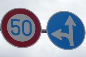 指定方向外進行禁止&最高時速50km以下の標識
